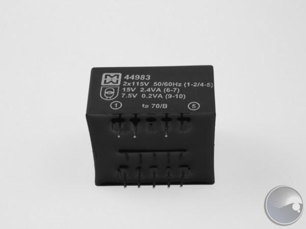 Transformator 2x115V/15V,2.4VA/7.5V,0.2V