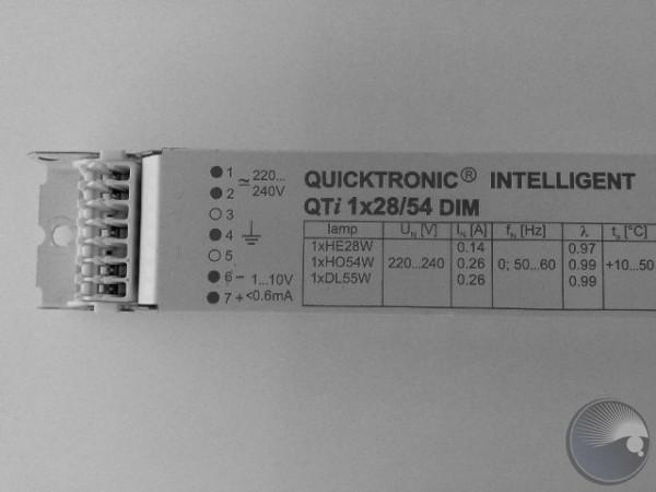 E-ballast, 1x28/54W, T5, DIM QTI